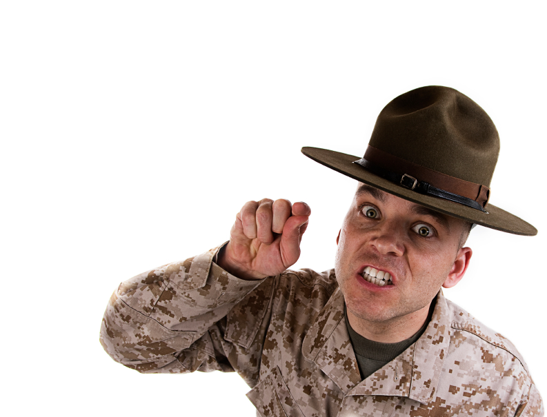USMC Drill Instructor barking orders